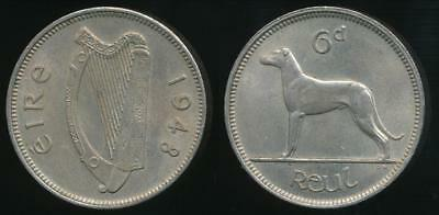 Ireland, Republic, 1948 Sixpence, 6d - almost Uncirculated