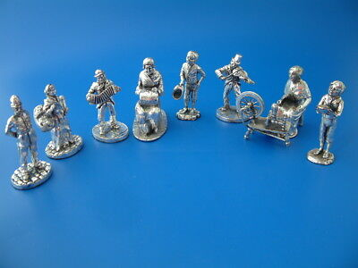 8 Royal Hampshire Art Foundry Silver Plated Victorian Figures from the 1990s