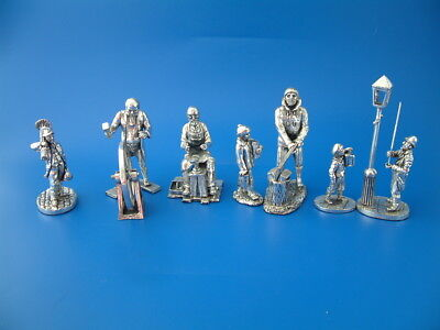 5 Royal Hampshire Art Foundry Silver Plated Victorian Figures from the 1990s