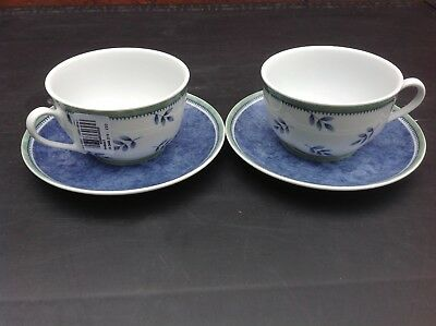 Villeroy & Boch - Switch 3 - Leaves Pattern - Two Sets of Cup and Saucer