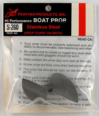 """Prather # S-260 """"stainless Steel R/c  Boat Prop"""" **"""