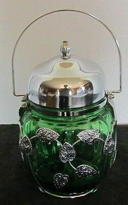 Japan Emerald Green Glass Chrome & Leaf Pat Musical Cookie Cracker Jar