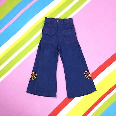 70s Vtg KIDS Blue Flares Children's Bell Bottom Trousers Size 3 Length 23 2-3 Yr