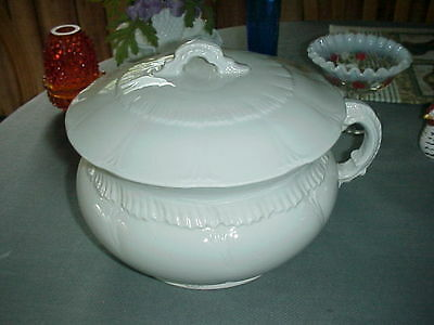 Antique Admiral V.P. Co. IRONSTONE Covered Chamber Pot - Scalloped Designs