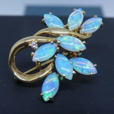 Australian Natural Crystal Opal Brooch - 14ct Yellow Gold - 8 Stones