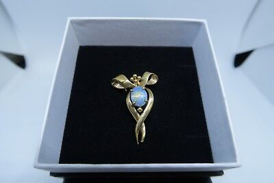 Australian Natural Crystal Opal Brooch - 9ct Yellow Gold