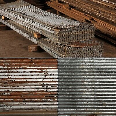 "Reclaimed Barn Tin Roof Wainscoting 26""x38"""
