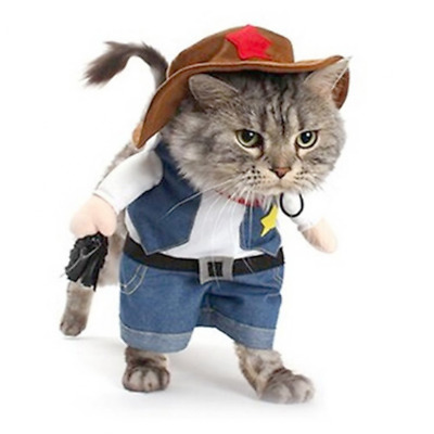 Small Cowboy Costume with Hat for Dog or Cat Halloween Party Christmas