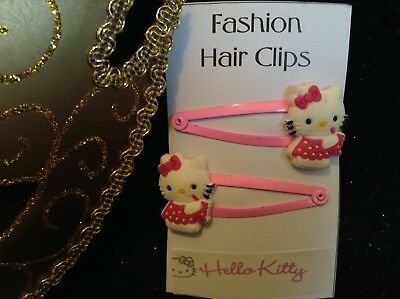 Snap Hair Clips - 2x Hello Kitty - Pink Dress
