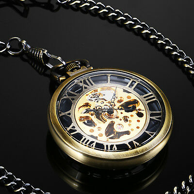 New Open Face With Gold Skeleton Retro Mens Mechanical Pocket Watch Farther