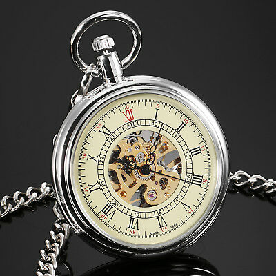 Mechanical Pocket Watch Silver Case Skeleton Stainless Steel Gold Open Face Gift