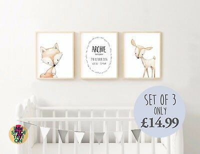 Personalised Boho Nursery Watercolour Woodland Animals Wall Art Print Baby Gift