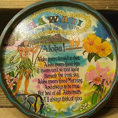 Vintage Colorful Metal Hawaii The Aloha State Serving Tray by Ken Haag 11 inches