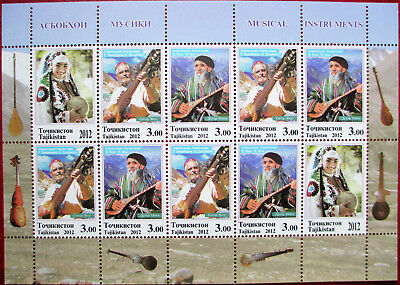 Tajikistan  2012  Musical  Instruments  perforated  M/S  MNH
