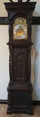 A magnificent carved oak musical longcase clock -  moonphase early 1800