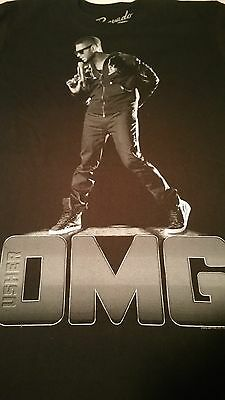 Usher OMG TOUR CONCERT TEE! New Size Medium Black with Measurements