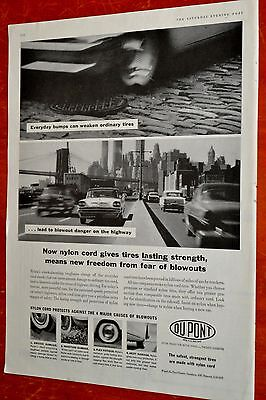 1957 Desoto 1955 Ford Plymouth For 1959 Dupont Tires Ad - 50S Vintage American