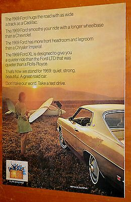 Beautiful 1969 Ford Xl Coupe Ad - American 60S Vintage Car Auto Classic