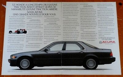 French 1991 Acura Legend In Gray Rare Canadian Ad - 1990S Japanese Luxury Car