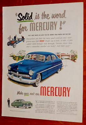 Blue 1949 Mercury Sedan & Coupe Cool Vintage Ad - Classic 40S American Car