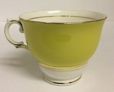 Vintage Colclough Yellow & White Cups & Saucers. Yellow Harlequin. 6 Available.