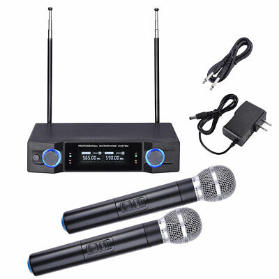Audio 2 Channel UHF Handheld Wireless Microphone System w/2 Mic LCD Display