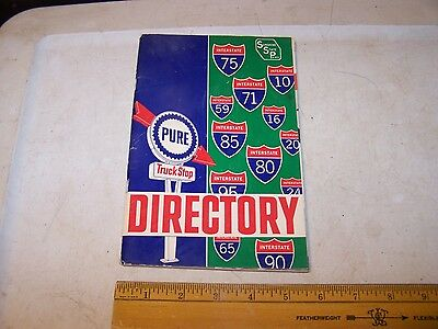 Vintage PURE Gas & Oil Truck Stop Directory w Owners Name & Station Photo