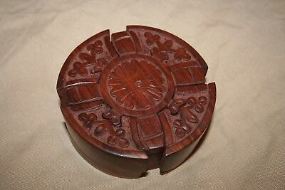 Vintage Hand Carved Wood Puzzle Box with Secret Compartment!