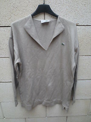 Pull Col Beige Made 40 Coton In Devanlay France Shirt Femme Lacoste V TulF15JKc3
