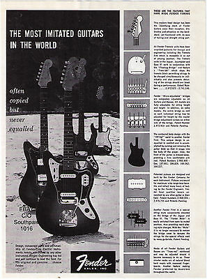 """Vintage Fender """"The Most Imitated Guitars In The World""""  Print Advertisement"""