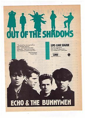"""1987 Echo & The Bunnymen """"Out Of The Shadows/Lips Like Sugar Print Advertisement"""