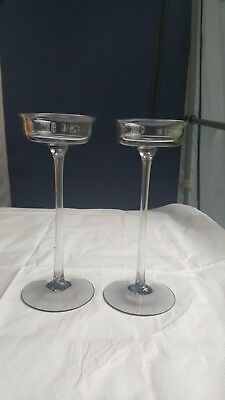 Wedgwood glass Arthur  midnight grey 7 1/2 inch  candlesticks