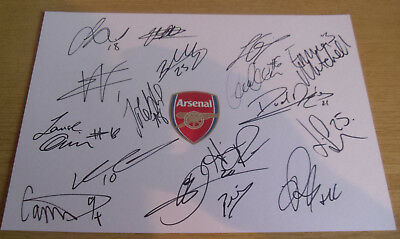 Brand New Arsenal Ladies Multi Signed A4 Card Sheet 17-18 Current Season