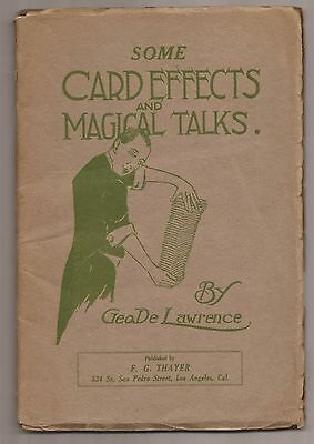 SOME CARD EFFECTS AND MAGICAL TALKS by George De Lawrence 1919 Signed DeLawrence