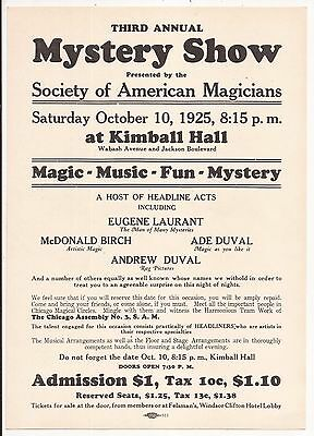THIRD ANNUAL MYSTERY SHOW FLYER 1925 The Society of American Magicians Chicago