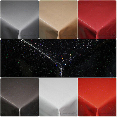 Plain Sparkle Infused Glitter Wipe Clean PVC Tablecloth Vinyl Dining Oilcloth