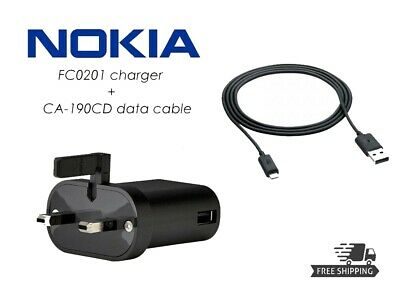d9f61b090e8fc4 Nokia 3 UK Wall Charger Adapter FC0201 with CA-190CD Micro USB Data Cable