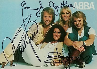 ABBA  hand signed postcard +  6 unsigned postcards  and a book published in 1978