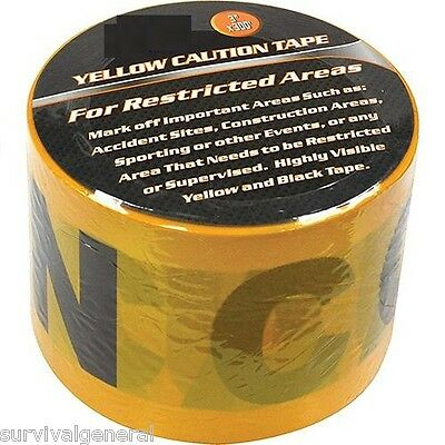 """1 Roll Yellow CAUTION Tape 3""""x 300' Barrier Restricted Barricade English/Spanish"""