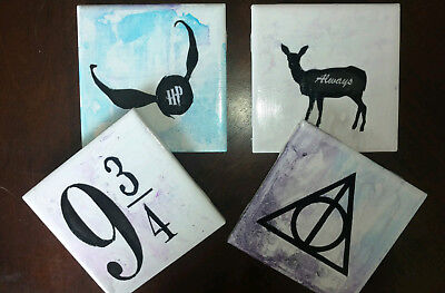 Harry Potter Coasters (Set of 4) Handmade Ceramic Tiles, Harry Potter Decoration