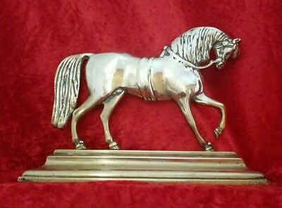 Antique Early 20th Century Brass Horse Doorstop Mantlepiece Ornament