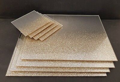 New  gold glitter mirrored glass placemats and coaster set LEONARDO COLLECTION