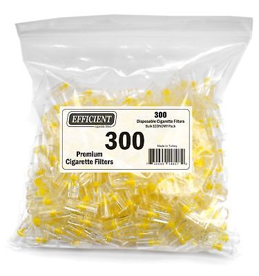 EFFICIENT Disposable Cigarette Filters Bulk Economy Pack 300 Per Pack