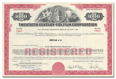 Twentieth Century-Fox Film Corporation Bond Certificate