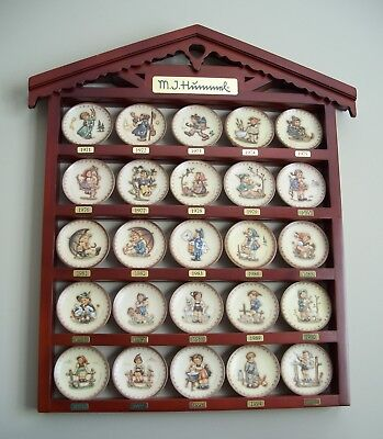 Hummel Annual Miniature Plate Collection 1971-1995 With Display Shelf