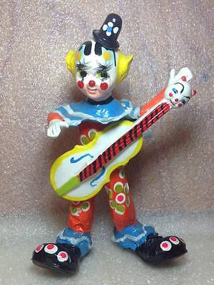 Kitschy  Cat Guitar playing Clown Figurine retro creepy vintage