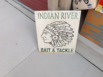 """Indian River Bait and Tackle Rusty Metal Sign 24"""" x 28"""" GAS OIL SODA FISHING"""
