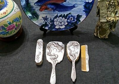 Export Vanity Set - Antique Dragon - Chinese Silver by Zee Sung