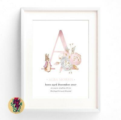Personalised Peter Rabbit Gift Nursery Christening New Baby Beatrix Potter Print