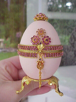 REAL Decorated Carved Goose Egg Engagement Ring Gift Box Collectible Pale Pink